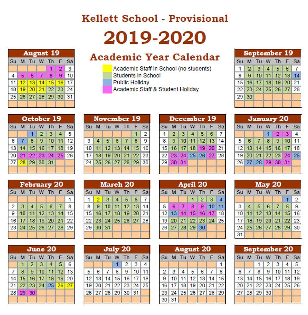 Calendario Estate 2020.Calendar Kellett School The British International School